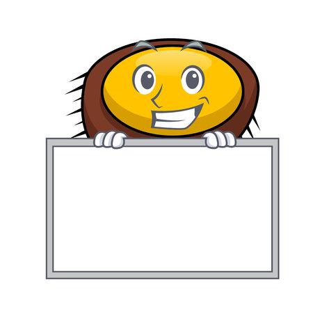 Grinning with board sea urchin character cartoon vector illustration Иллюстрация