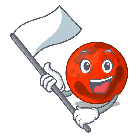 With flag mars planet mascot cartoon vector illustration