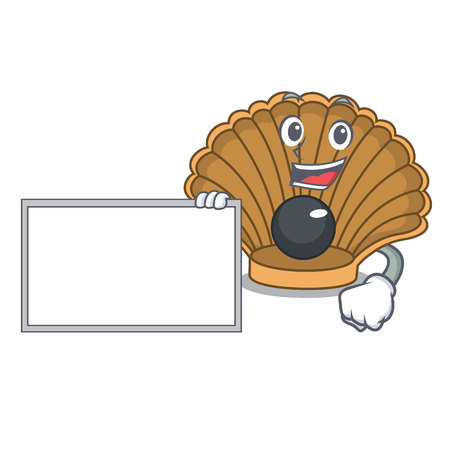 With board shell with pearl character cartoon vector illustration Иллюстрация