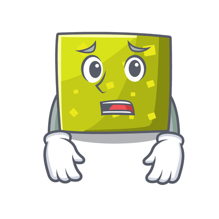 Afraid square mascot cartoon style vector illustration