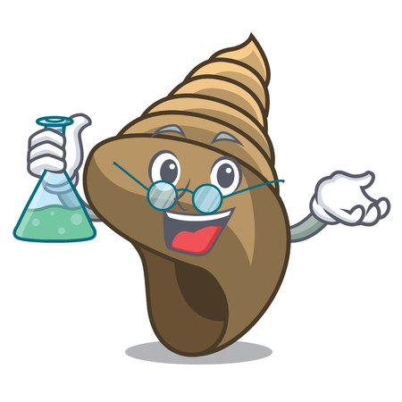 Professor spiral shell character cartoon vector illustration