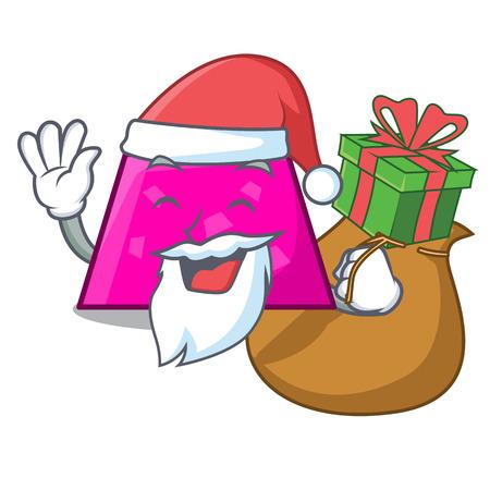 Santa with gift trapezoid mascot cartoon style vector illustration Illustration