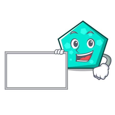Bring board pentagon character cartoon style vector illustration