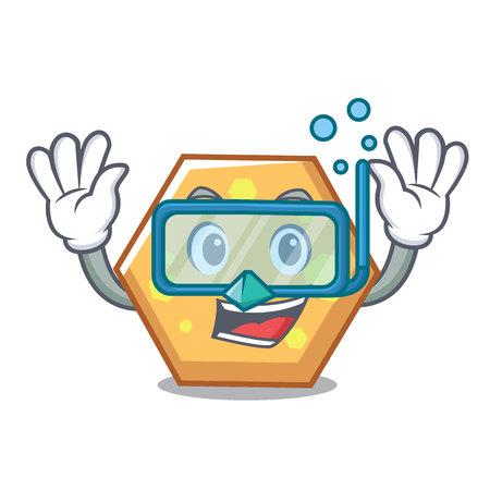 Diving hexagon character cartoon style vector illustration Çizim