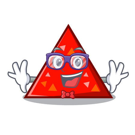 Geek triangle character cartoon style vector illustration