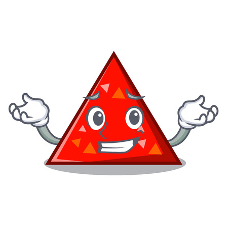 Grinning triangle character cartoon style vector illustration
