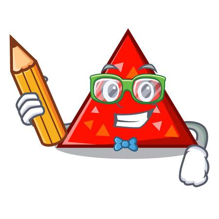 Illustrazione di vettore di stile del fumetto del carattere del triangolo dello studente