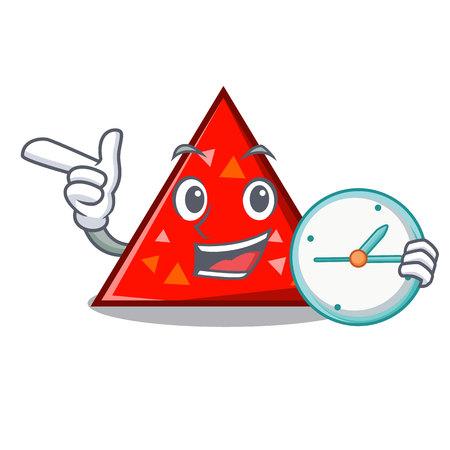 Avec horloge triangle caractère cartoon style vector illustration