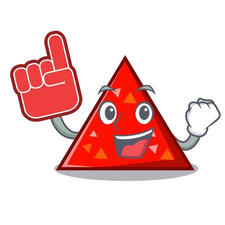 Illustration vectorielle de mousse doigt triangle mascotte style dessin animé