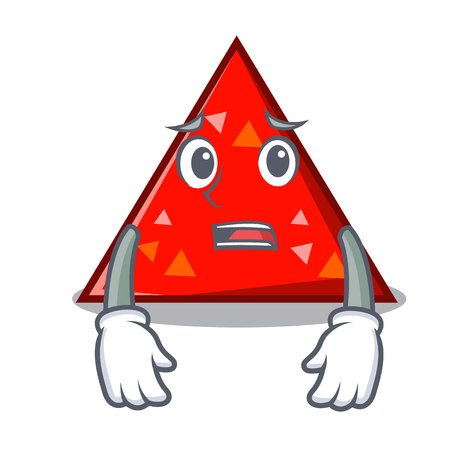 Afraid triangle mascot cartoon style vector illustration