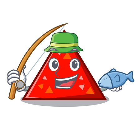 Fishing triangel mascot cartoon style vector illustration Stockfoto