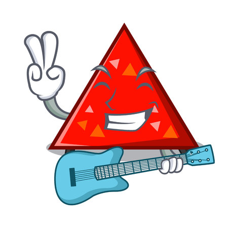With guitar triangel mascot cartoon style vector illustration Stockfoto