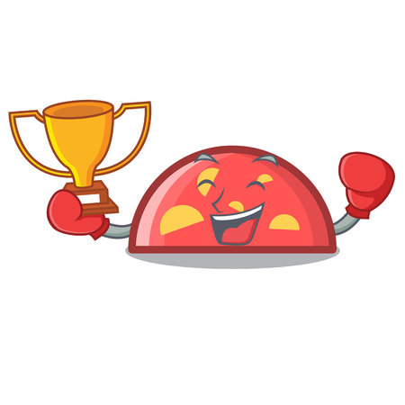 Boxing winner semicircle mascot cartoon style vector illustration