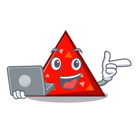 With laptop triangle character cartoon style vector illustration Illustration
