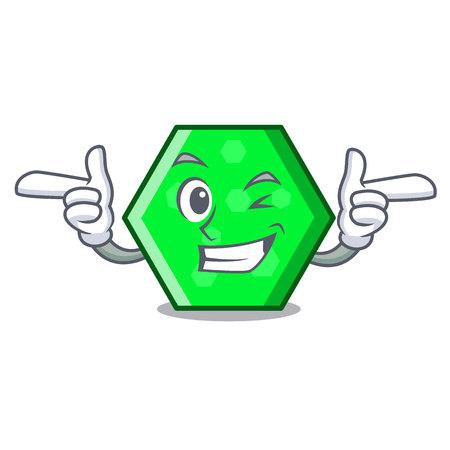 Wink octagon character cartoon style vector illustration  イラスト・ベクター素材