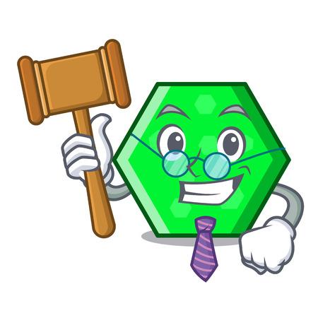 Judge octagon mascot cartoon style vector illustration