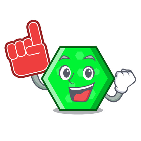 Foam finger octagon mascot cartoon style vector illustration