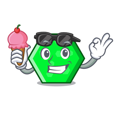 With ice cream octagon character cartoon style vector illustration