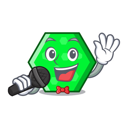 Singing octagon mascot cartoon style vector illustration