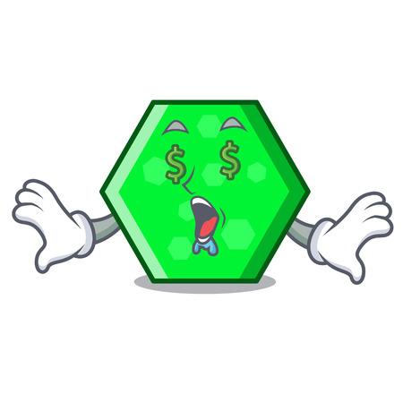 Money eye octagon mascot cartoon style vector illustration