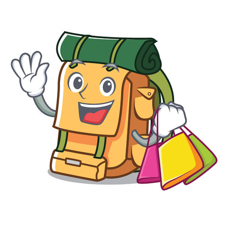 Shopping backpack character cartoon style