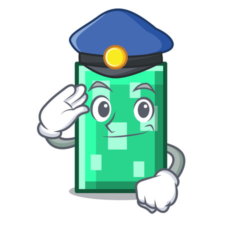 Police rectangle character cartoon style
