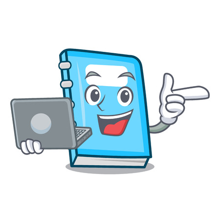 With laptop education character cartoon style vector illustration 일러스트