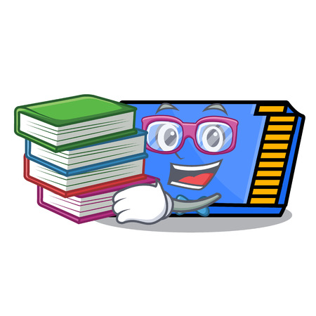 Student with book memory card mascot cartoon vector illustration