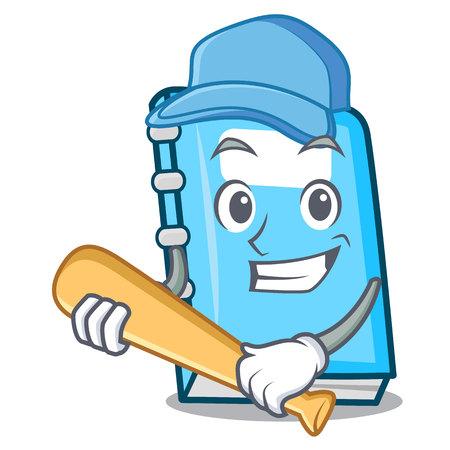 Playing baseball education character cartoon style vector illustration