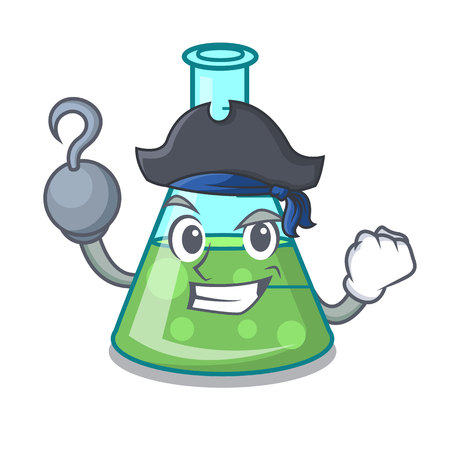 Pirate science beaker character cartoon vector illustration