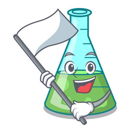 With flag science beaker mascot cartoon vector illustration