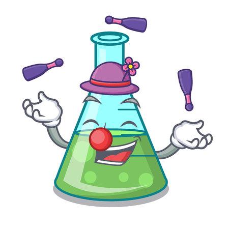 Juggling science beaker mascot cartoon vector illustration
