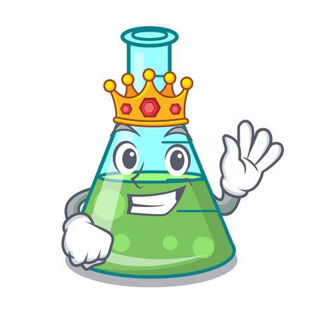 King science beaker mascot cartoon vector illustration Stock Illustratie