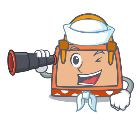 Sailor with binocular hand bag mascot cartoon vector illustration Ilustrace
