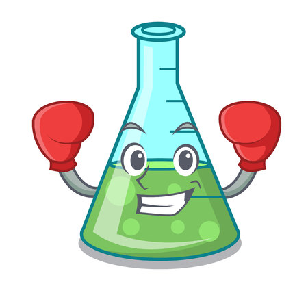 Boxing science beaker character cartoon vector illustration