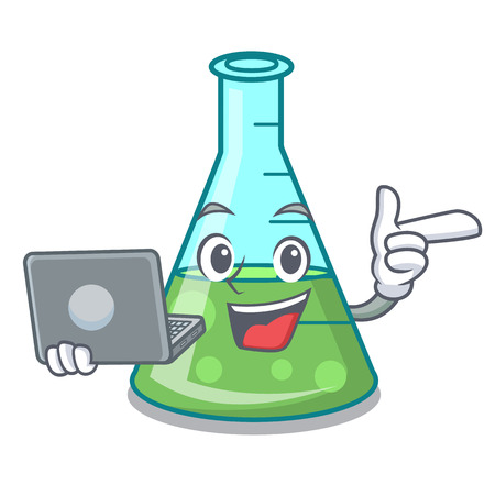 With laptop science beaker character cartoon vector illustration Stock Illustratie