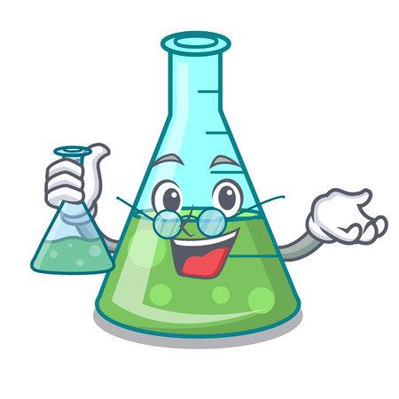 Professor science beaker character cartoon vector illustration