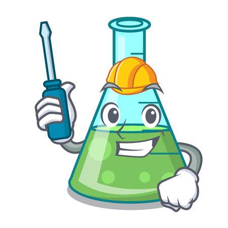 Automotive science beaker mascot cartoon vector illustration