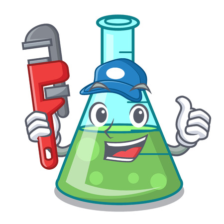 Plumber science beaker mascot cartoon vector illustration Stock Illustratie