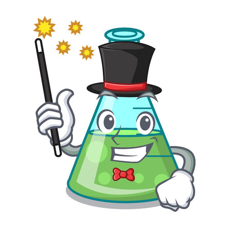 Magician science beaker mascot cartoon vector illustration