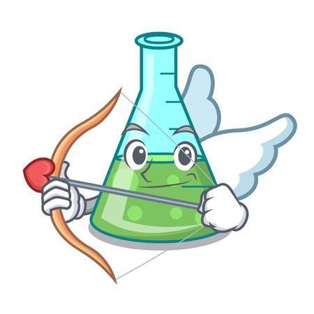 Cupid science beaker character cartoon