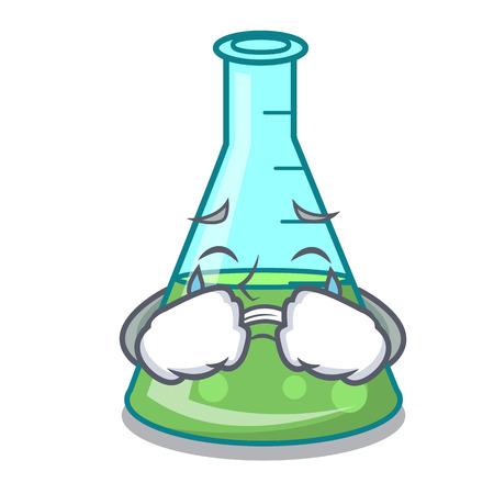 Crying science beaker mascot cartoon