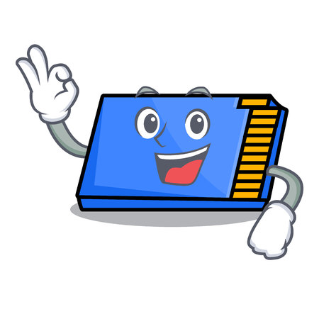 Okay memory card character cartoon vector illustration