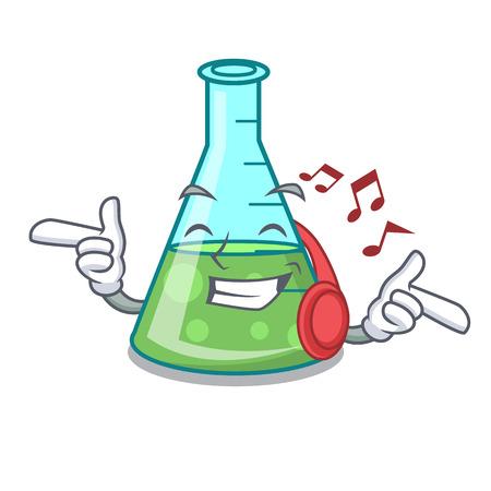 Listening music science beaker mascot cartoon vector illustration Stockfoto