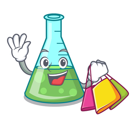 Shopping science beaker character cartoon vector illustration