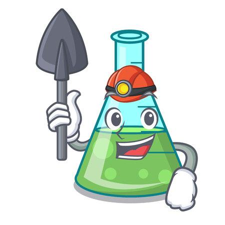 Miner science beaker mascot cartoon vector illustration Stockfoto