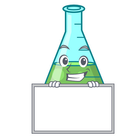 Grinning with board science beaker character cartoon