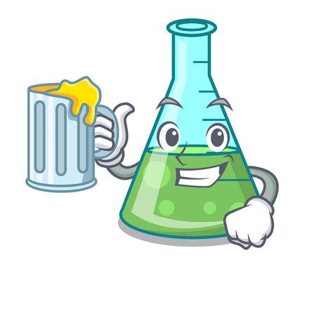 With juice science beaker mascot cartoon Stockfoto