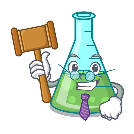 Judge science beaker mascot cartoon