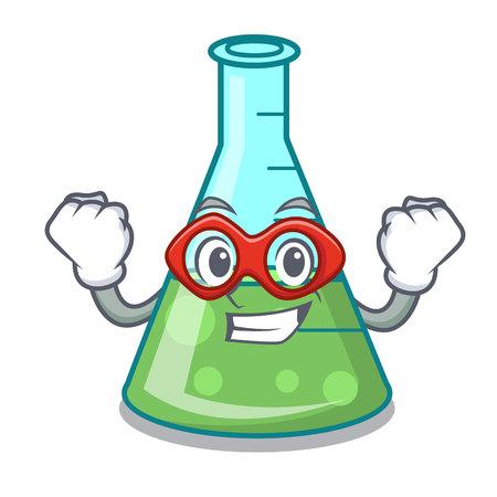 Super hero science beaker character cartoon